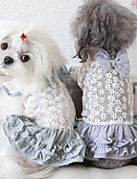 cheap -Dog Costume Dress Dog Clothes Breathable Green Gray Costume Beagle Bichon Frise Chihuahua Fabric Bowknot Embroidered Flower Casual / Sporty Cute XS S M L XL