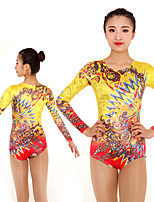 cheap -Rhythmic Gymnastics Leotards Artistic Gymnastics Leotards Women's Girls' Leotard Yellow Spandex High Elasticity Handmade Jeweled Diamond Look Long Sleeve Competition Dance Rhythmic Gymnastics