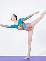 cheap -Women's Aerial Yoga Jumpsuit Winter Rose Pink / Blue Elastane Ballet Dance Gymnastics Romper Sport Activewear Breathable Soft Stretchy