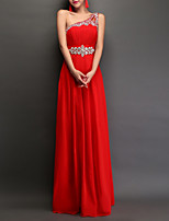 cheap -A-Line One Shoulder Floor Length Polyester Empire / Red Engagement / Prom Dress with Crystals 2020