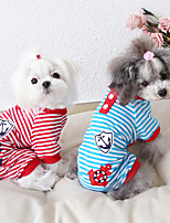 cheap -Dog Costume Jumpsuit Dog Clothes Breathable Red Blue Black Costume Beagle Bichon Frise Chihuahua Cotton Stripes Embroidered Casual / Sporty Cute XS S M L XL