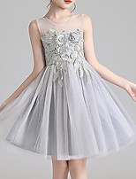cheap -Kids Girls' Solid Colored Dress Gray