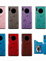 cheap -Case For Huawei Mate 30 Pro Card Holder / Shockproof / Pattern Back Cover Cartoon PU Leather