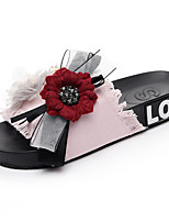 cheap -Women's Slippers & Flip-Flops Flat Heel Open Toe Imitation Pearl / Sparkling Glitter / Ribbon Tie Canvas / Denim Classic / Casual Walking Shoes Summer Black / White / Pink