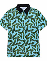 cheap -Men's Daily Going out Rock / Exaggerated Polo - Floral / Color Block / 3D Tropical Leaf, Print Green