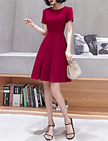 cheap -A-Line Jewel Neck Knee Length Spandex Minimalist / Red Cocktail Party / Homecoming Dress with Pleats 2020