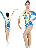cheap -Rhythmic Gymnastics Leotards Artistic Gymnastics Leotards Women's Girls' Kids Leotard Spandex High Elasticity Handmade Long Sleeve Competition Dance Rhythmic Gymnastics Artistic Gymnastics Blue
