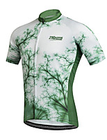 cheap -21Grams Men's Short Sleeve Cycling Jersey 100% Polyester Black / Green Bike Jersey Top Mountain Bike MTB Road Bike Cycling UV Resistant Breathable Quick Dry Sports Clothing Apparel / Stretchy