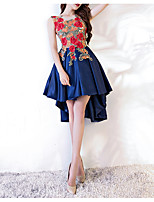 cheap -A-Line Jewel Neck Asymmetrical Polyester Red / Blue Cocktail Party / Homecoming Dress with Appliques 2020