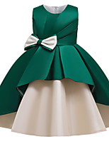 cheap -Kids Girls' Active Cute Patchwork Solid Colored Bow Sleeveless Midi Dress Wine