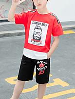 Недорогие -Дети Дети (1-4 лет) Мальчики Активный На каждый день Синий и белый Геометрический принт С принтом Контрастных цветов Пэчворк С принтом С короткими рукавами Обычный Обычная Набор одежды Красный