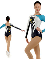 cheap -Rhythmic Gymnastics Leotards Artistic Gymnastics Leotards Women's Girls' Kids Leotard Spandex High Elasticity Handmade Long Sleeve Competition Dance Rhythmic Gymnastics Artistic Gymnastics Black