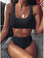 cheap -Women's Black White Bikini Swimwear Swimsuit - Solid Colored S M L Black
