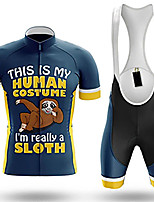 cheap -21Grams Men's Short Sleeve Cycling Jersey with Bib Shorts Blue Animal Sloth Bike Clothing Suit UV Resistant Breathable 3D Pad Quick Dry Sweat-wicking Sports Animal Mountain Bike MTB Road Bike Cycling
