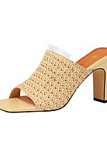 cheap -Women's Sandals Chunky Heel Open Toe Faux Leather Casual / Minimalism Spring / Summer Black / Almond / Yellow