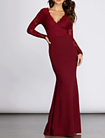 cheap -Mermaid / Trumpet V Neck Floor Length Polyester / Lace Elegant / Red Formal Evening / Wedding Guest Dress with Pleats 2020