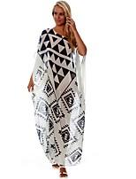 cheap -Women's Maxi White Dress Loose Geometric One Shoulder Sequins Tassel Fringe One-Size Loose