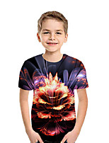 cheap -Kids Boys' Active Street chic Floral Patchwork Print Short Sleeve Tee Rainbow