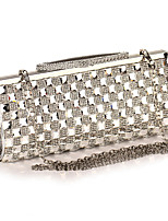 cheap -Women's Crystals / Chain Acrylic / Polyester Evening Bag Color Block Black / Champagne / Silver