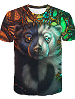 cheap -Kids Boys' Basic Street chic Color Block 3D Animal Print Short Sleeve Tee Rainbow