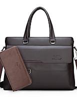 cheap -Men's Zipper PU Bag Set 2 Pieces Purse Set Black / Brown