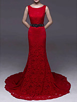 cheap -Mermaid / Trumpet Jewel Neck Court Train Lace Elegant / Red Engagement / Formal Evening Dress with Beading / Appliques 2020