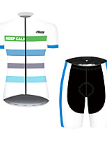 cheap -21Grams Women's Short Sleeve Cycling Jersey with Shorts Black / White Bike Breathable Quick Dry Sports Patterned Mountain Bike MTB Road Bike Cycling Clothing Apparel / Micro-elastic