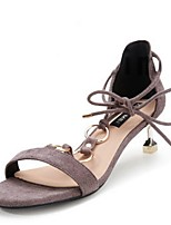 cheap -Women's Sandals Kitten Heel Round Toe Suede Summer Black / Pink / Gray