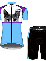 cheap -21Grams Women's Short Sleeve Cycling Jersey with Shorts Blue / White Cat Animal Bike Breathable Quick Dry Sports Cat Mountain Bike MTB Road Bike Cycling Clothing Apparel / Micro-elastic