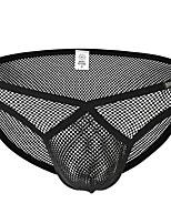 cheap -Men's Mesh Briefs Underwear - Normal Low Waist Black White S M L
