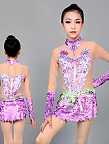 cheap -Rhythmic Gymnastics Leotards Artistic Gymnastics Leotards Women's Girls' Leotard Purple Spandex High Elasticity Handmade Jeweled Diamond Look Long Sleeve Competition Dance Rhythmic Gymnastics