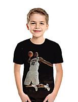 Недорогие -Дети Мальчики Активный Уличный стиль Геометрический принт Контрастных цветов 3D С короткими рукавами Футболка Черный