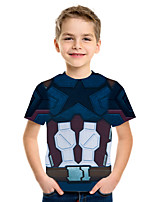 cheap -Kids Boys' Basic Street chic Geometric Color Block 3D Print Short Sleeve Tee Rainbow