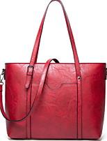 cheap -Women's Zipper PU Top Handle Bag Solid Color Dark Brown / Wine / Black