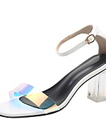 cheap -Women's Sandals Transparent Shoes Chunky Heel Square Toe PU Summer White / Black