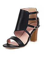 cheap -Women's Sandals Chunky Heel Open Toe Buckle PU Vintage / Casual Summer Black / White / Fuchsia