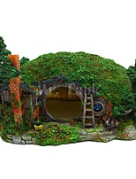 cheap -Aquarium Decoration Hobbit House Reptile Hole House Shelter Fish Tank Ornament Rockery Landscaping