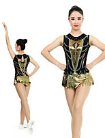 cheap -Rhythmic Gymnastics Leotards Artistic Gymnastics Leotards Women's Girls' Leotard Black Spandex High Elasticity Handmade Jeweled Diamond Look Sleeveless Competition Dance Rhythmic Gymnastics Artistic