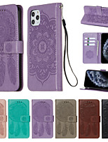 cheap -Case for Apple scene map iPhone 11 11 Pro 11 Pro Max X XS XR XS Max 8 Dream catcher pattern embossed embossed PU leather card holder lanyard all-inclusive drop-resistant mobile phone case YB