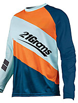 cheap -21Grams Men's Long Sleeve Cycling Jersey Downhill Jersey Dirt Bike Jersey 100% Polyester Blue+Orange Stripes Bike Jersey Top Mountain Bike MTB Road Bike Cycling UV Resistant Breathable Quick Dry