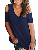 cheap -Women's Daily T-shirt - Solid Colored Red