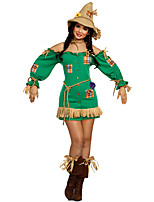 cheap -Scarecrow Outfits Adults' Women's Halloween Halloween Festival / Holiday Polyster Green Women's Carnival Costumes / Dress / Shorts / Hat