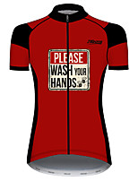 cheap -21Grams Women's Short Sleeve Cycling Jersey 100% Polyester Black / Red Bike Jersey Top Mountain Bike MTB Road Bike Cycling UV Resistant Breathable Quick Dry Sports Clothing Apparel / Stretchy