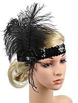 cheap -Artificial feather Fascinators with Feather 1 Piece Carnival / Horse Race Headpiece