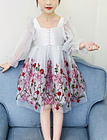 cheap -Kids Girls' Cute Blue Floral Solid Colored Lace Embroidered Long Sleeve Knee-length Dress Blushing Pink