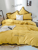 cheap -Goddess Small Money Lace Decorative Quilt Cover Embroidery Four Piece Bedding Turmeric