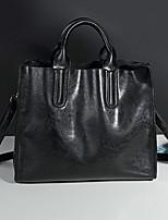 cheap -Women's Zipper PU Top Handle Bag Solid Color Wine / Brown / Black