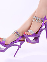 cheap -Women's Sandals Sculptural Heel Round Toe Rhinestone / Buckle Satin Classic Summer Black / Almond / Purple / Party & Evening