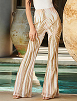 cheap -Hippie Disco Vintage Boho 1960s Pants Flowy Pants Women's Sequins Spandex Sequin Costume Apricot Vintage Cosplay Party