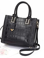 cheap -Women's Zipper PU Top Handle Bag Solid Color Black / Blue